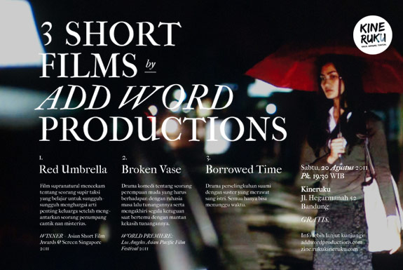 Kineruku Screening: <b>3 Short Films</b> by <b>Add Word Productions</b>